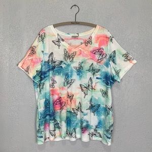 Avenue plus size watercolor butterfly T-shirt